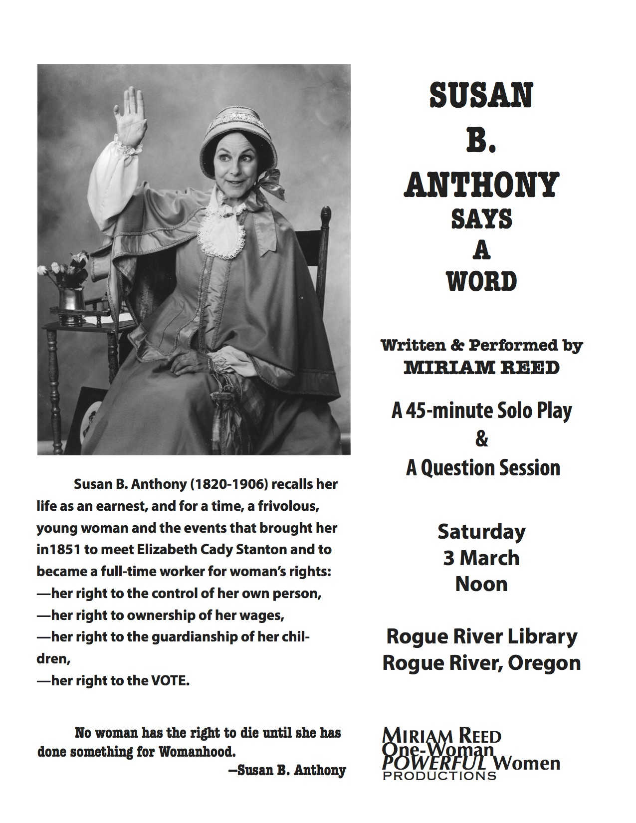 Susan B. Anthony <br> Says A Word